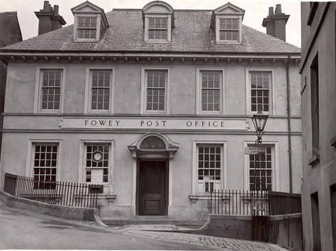 Exterior view of Fowey Post Office, Cornwall, 1935.