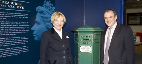 Baroness Wilcox and Edward Davey with our Queen Victoria Channel Islands Pillar Box