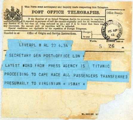 The second telegram about the sinking of the Titanic