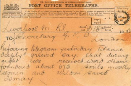 The third telegram about the sinking of the Titantic