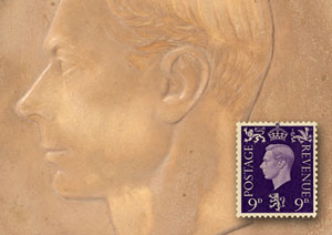 London 2010 postcard #3: A relief of George VI by Edmund Dulac