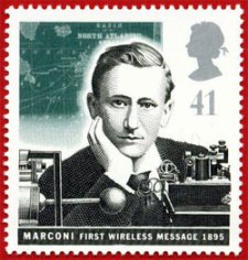 A stamp commemorating Marconis first wireless telegraph transmission in 1895