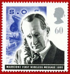A stamp commemorating the role of wireless telegraphy in the Titanic disaster