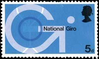 Post Office Technology: National Giro, a stamp designed by David Gentleman and released in 1969.
