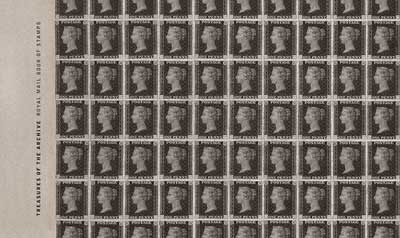 The cover of the Treasures of the Archive Prestige Stamp Book features a sheet of Penny Blacks in our collection