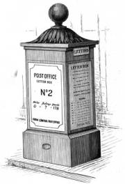 One of the first London post boxes, with a time plate on the side.