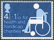Britains first charity stamp, issued in 1975 in support of health and handicap charities.