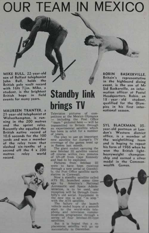 An article about Post Office employees competing at the 1968 Mexico City Olympics from Courier magazine, October 1968.