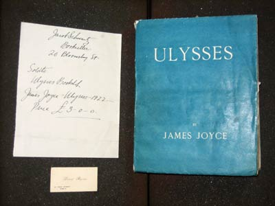 The copy of Ulysses sent by David Byrne to Jacob Schwarz, accompanied by a receipt and Byrnes business card.