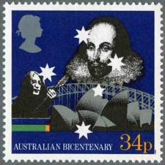 A stamp from the UK-Australia Joint Issue of 1988, featuring John Lennon