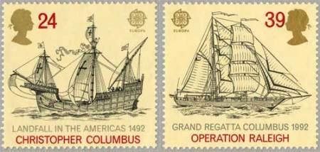 The Landfall in the Americas and Grand Regatta Columbus stamps (1992)