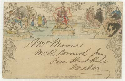 A coloured version of The Mulready Envelope (1840)
