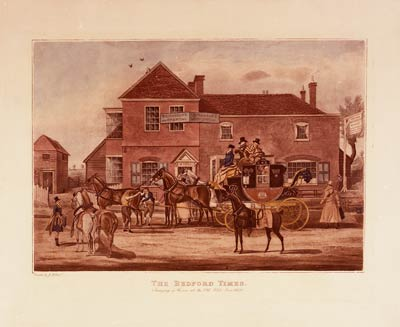 The Bedford Times. Changing of Horses at the Old White Lion (1830)