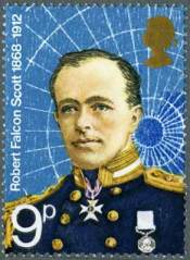 One of the Polar Explorers stamps from 1972, featuring Robert Falcon Scott.