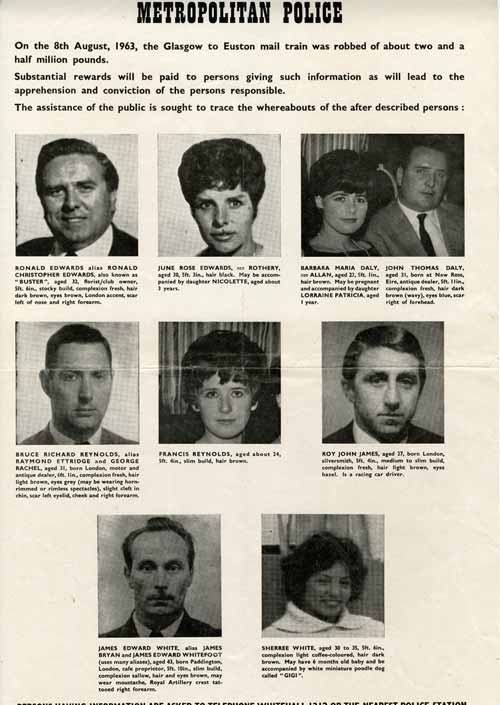 The Great Train Robbery: Wanted Poster. Some of those pictured in this poster would later turn out to have no connection to the robbery.