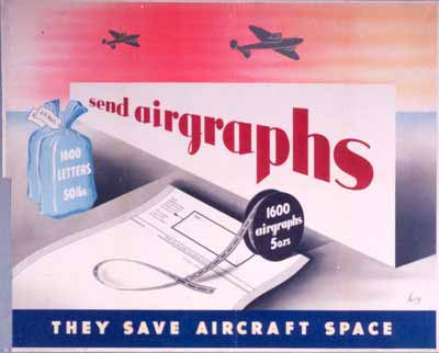 Send Airgraphs - they save aircraft space, designed by Anthony Frederick Sarg
