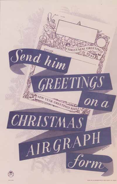 Send him Greetings on a Christmas Airgraph form, produced by Leonard Beaumont