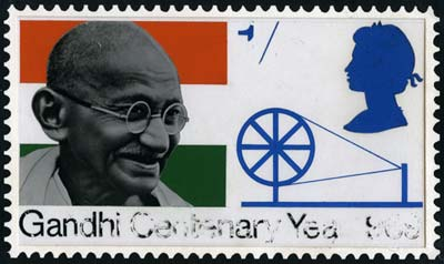 Gandhi Centenary Year 1969 unadopted stamp design with Charkha and Mahatma in devanagari