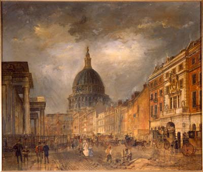 Painting of St Martins le Grand by James Pollard