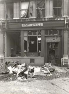 The bomb damage suffered by Greenwich Post Office in 1945