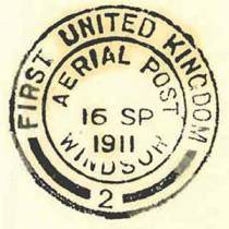 A special handstamp from the first flight of the Aerial Post between Windsor and Hendon in 1911