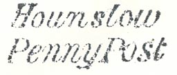 Provincial penny post handstamp impression from Hounslow, Middlesex, circa 1838