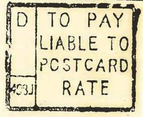 A To Pay handstamp for the postcard rate
