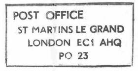The impression of an address handstamp for GPO Headquarters, St Martins Le Grand