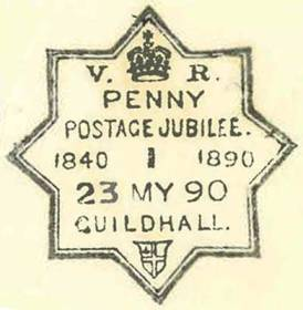 An impression of a special handstamp celebrating the Penny Postage Jubilee in 1890