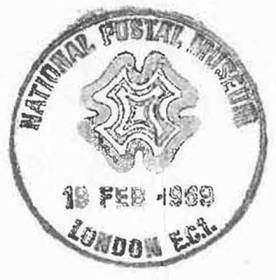 Impression of a handstamp celebrating the opening of the National Postal Museum (now BPMA) on 19th February 1969