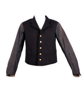 Postman's long-sleeved waistcoat, 1908. The waistcoat is black with gold buttons. The sleeves are dark grey.