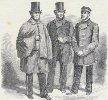 Black and white engraving of three men wearing the new uniforms for letter-carriers, mail-drivers and guards