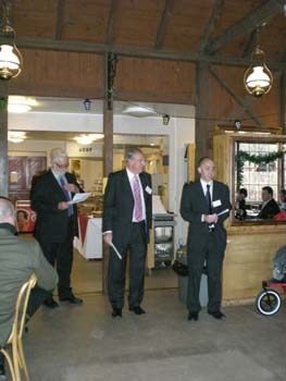 Speeches from Adrian Steel (BPMA Director), Barrie Williams (Ironbridge Gorge Museum Trust Chairman of Trustees), and Brian Goodey (BPMA Chairman of Trustees).