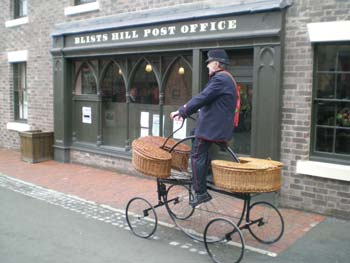 Colin Bedford riding his Hen & Chicks outside the Blists Hill Post Office