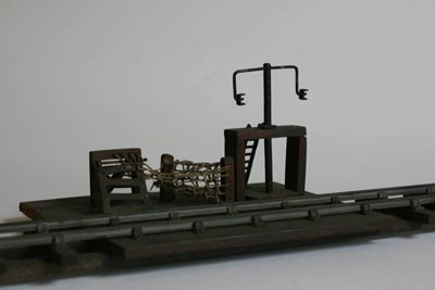 Model of mail train bag apparatus in wood