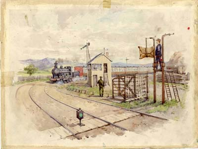 Painting of mail train going past a mail bag apparatus point