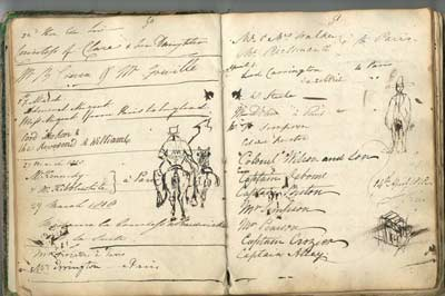 Two pages from the Visitors Book from the Hotel d'Europe, 1817-1826