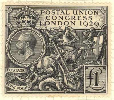 Postal Union Congress £1 stamp, 1929. Shows King George V and an English knight on horseback.
