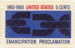 """A 1963 US stamp depicting a broken chain and the words """"Emacipation Proclamation"""", produced to celebrate 100 years since the abolition of slavery."""