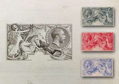 The postcard shows the original metal master die for the Seahorse design with colour trials (September 1912)