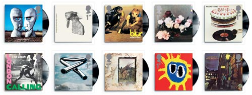 10 stamps featuring classic British album covers.