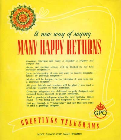 "Advertisement for the Greetings Telegram service: ""A new way of saying Many Happy Returns"""