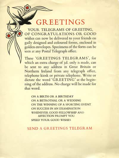 "Advertisement for the Greetings Telegram service: ""Send a Greetings Telegram"""