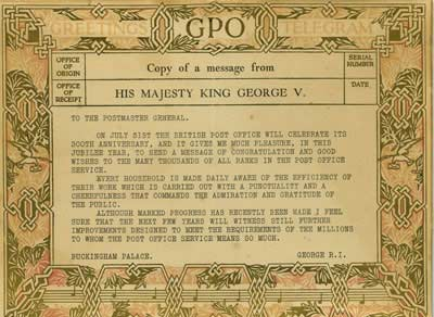 A reproduction of the greetings telegram sent by George V to the Postmaster General used as advertising in post offices.