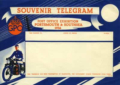 A souvineer telegram from the Post Office Exhibition, Portsmouth & Southsea, 1936. The telegram has a thick blue border and a drawing of a telegram messanger boy aboard a motorcycle.