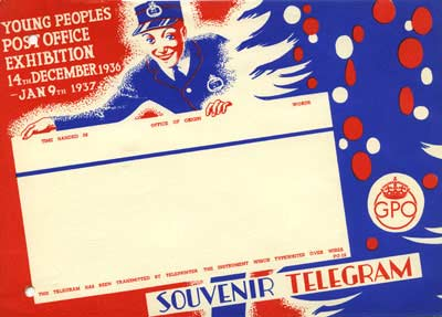 The telegram has a blue and red border featuring a Christmas tree and an image of a telegram messenger boy.