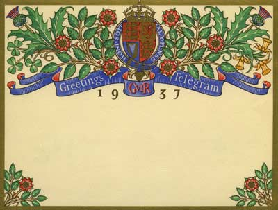 The telegram is bordered by the monarch's coat of arms, surrounded by official flowers of England, Wales, Scotland and Ireland
