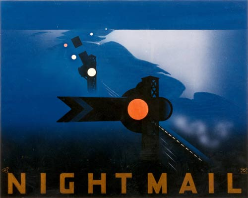 The poster for Night Mail shows a railway track and railway signals at night.