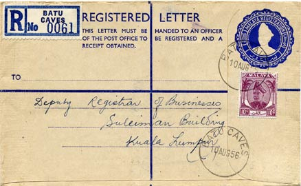 A registration envelope printed by McCorquodale for the Malayan state of Selangor