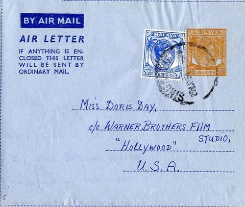 """A McCorquodale aerogramme for Singapore used by fan to ask Miss Doris Day for the words of """"Deadwood Stage""""."""